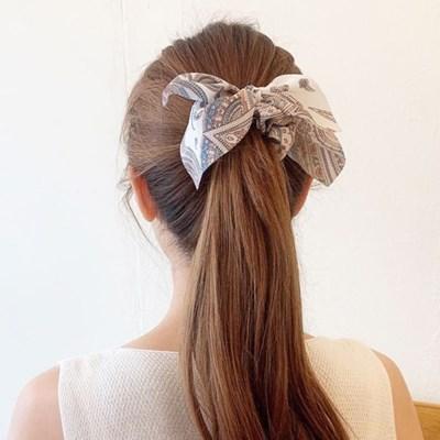 [BEST][3개세트][3color] 페이즐리 반다나 리본 곱창 머리끈 세트