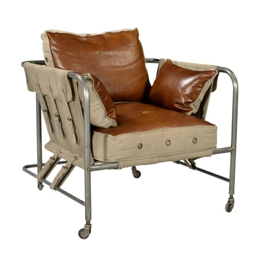 LEATHER AND CANVAS 1 SEATER SOFA