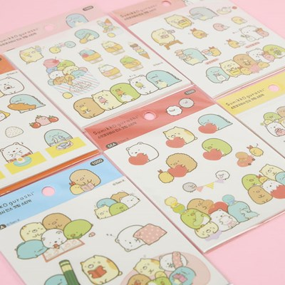스밋코구라시 귀여운 다꾸 인스컷팅 스티커 6개세트_(1575062)