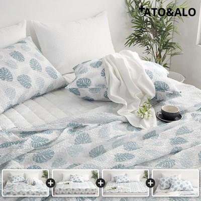 [아토앤알로] 시원한 여름침구 몬스테라 홑이불 풀세트 싱글SS