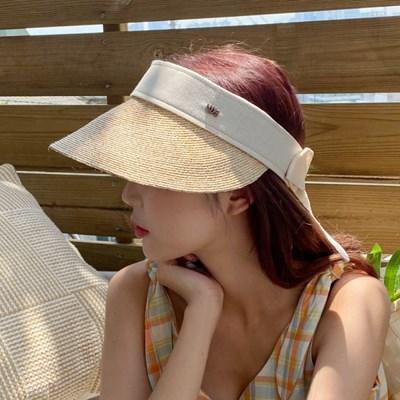 린넨 라피아 자외선 차단 여성 썬캡 모자