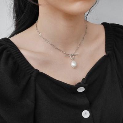 ot pearl drop necklace (실버컬러)