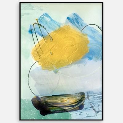추상화 거실 인테리어 그림 액자 패브릭 포스터 옐로우