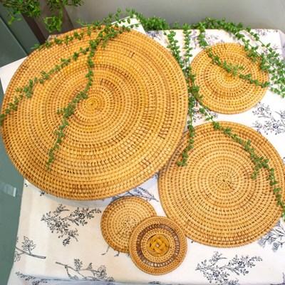 홈카페 라탄 원형 테이블 매트 3종