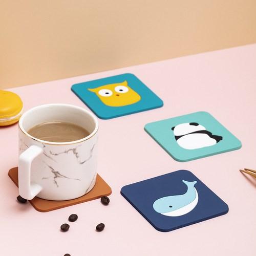 실리콘 티코스터 캐릭터 컵받침 홈카페