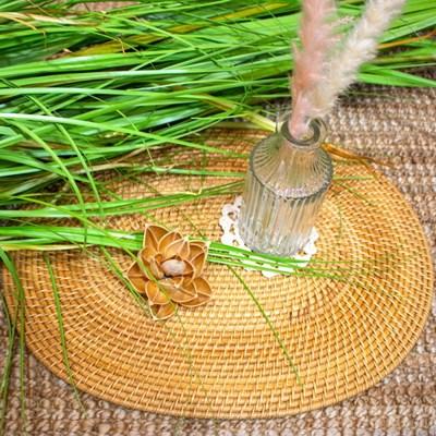 홈카페 라탄 타원형 테이블 매트