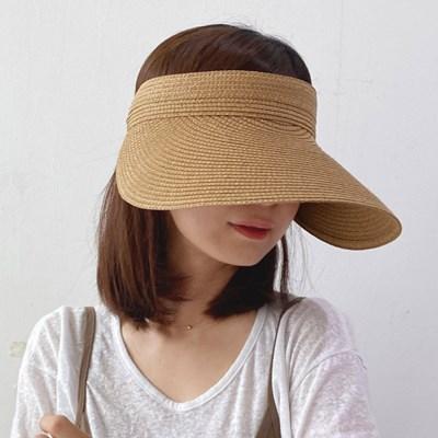내추럴 밴딩 밀짚썬캡 햇빛차단 여성 여름썬햇