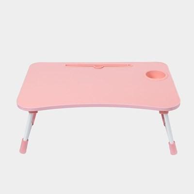 테블릿 컵홀더 접이식 좌식 테이블(핑크)