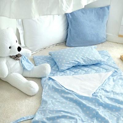 분리형 순면 낮잠이불세트/가방 - 블루소다