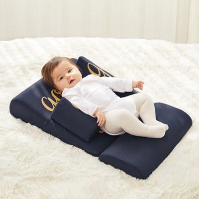 아이팜 역류방지쿠션 더푹잠 아기침대 면 네이비