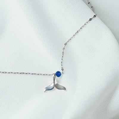 [기부목걸이] 실버와 바다 닮은 청다이아_고래꼬리 시리즈 #05