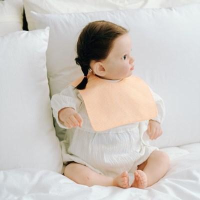 턱받이 잔체크오렌지사각턱받이 아기 침받이 빕