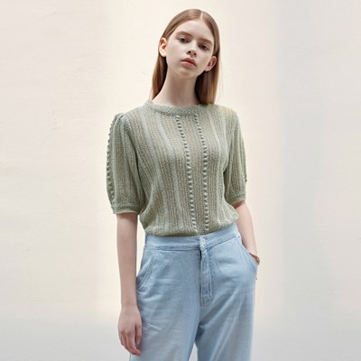 LACE PUFF HALF KNIT_LIGHT GREEN