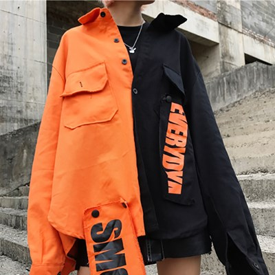 UP 오렌지 블랙 반반 오버핏 셔츠_(1650617)