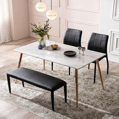 아말피 천연 대리석 4인용 식탁 세트(벤치1+의자2)