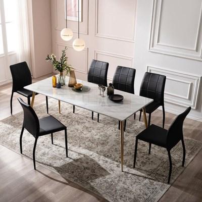 아말피 천연 대리석 6인용 식탁 세트(의자6)