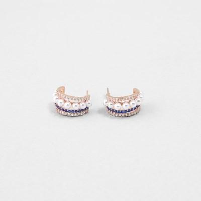 [쥬디앤폴] 리베로 트리플 라인 블루 사파이어 후프 귀걸이 E51514