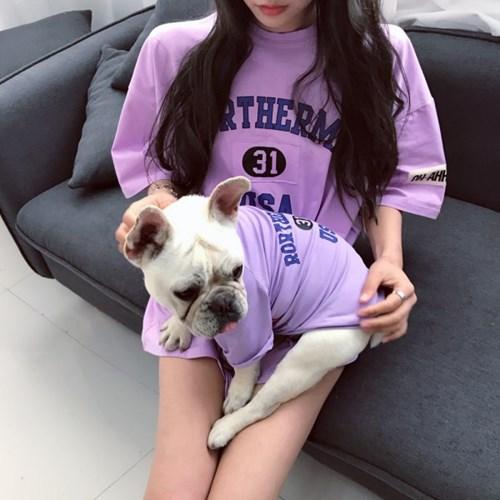 강아지커플룩 견주 올인원 여름옷 실내복 반팔 애견_(3085599)