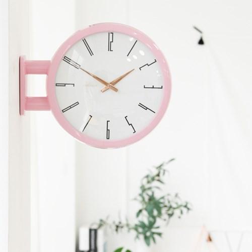 사랑스러운 베이비핑크의 매력 - 모던 양면 벽시계 A7 베이비 핑크