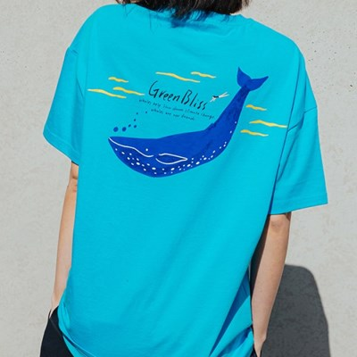 [Organic cotton] Blue whale (blue)