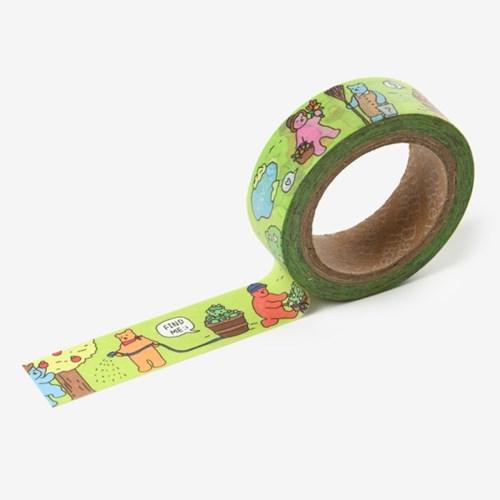 Jelly bear masking tape - 03 Garden