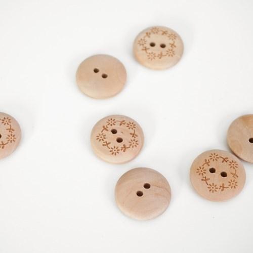 잔꽃 나무 단추 (20mm)