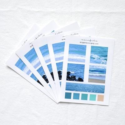 [메리필름] 투명 바다 컬러칩 스티커 5장 1set