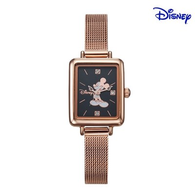 디즈니 미키마우스 여성 사각 메탈손목시계 D11019MRB