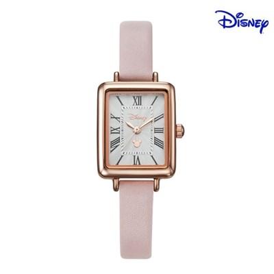 디즈니 미키마우스 여성 사각 가죽 손목시계 D11119PK