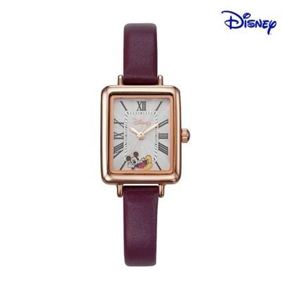 디즈니 미키마우스 여성 사각 가죽 손목시계 D11119BR
