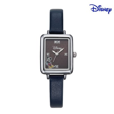 디즈니 미키마우스 여성 사각 가죽 손목시계 D11119BL