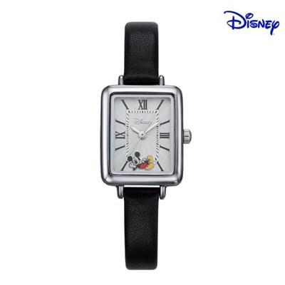 디즈니 미키마우스 여성 사각 가죽 손목시계 D11119BK