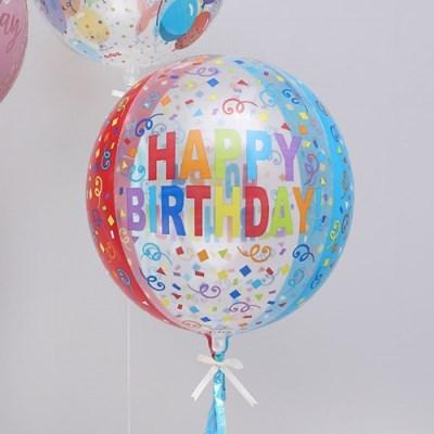 옹브레 은박풍선 40cm 생일칼라풀 스트리머