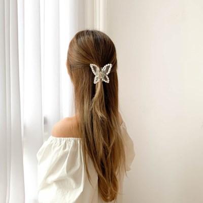 진주 투명 나비 집게핀 2color