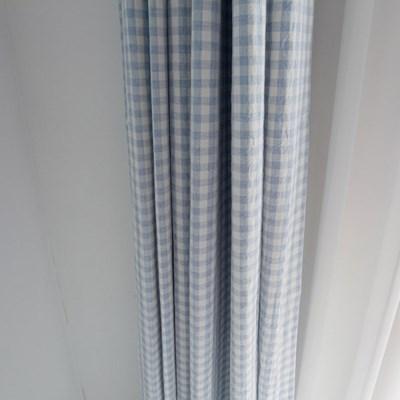 [바이아미] 멜란 체크 커튼 - 블루