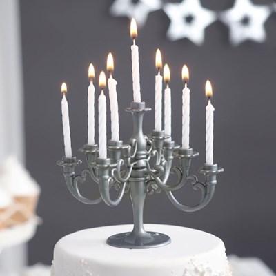 샹들리에 생일케익초 촛대&캔들 세트 [실버]_(12075907)