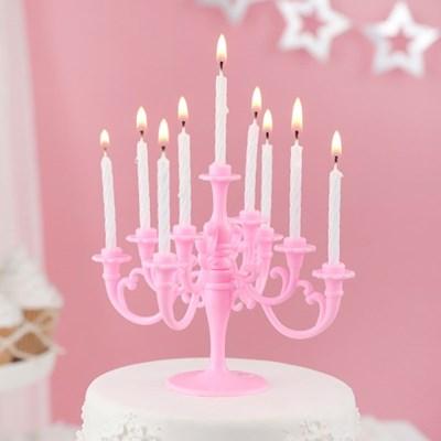 샹들리에 생일케익초 촛대&캔들 세트 [핑크]_(12075905)