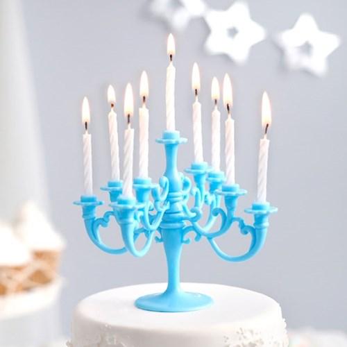 샹들리에 생일케익초 촛대&캔들 세트 [블루]_(12075903)