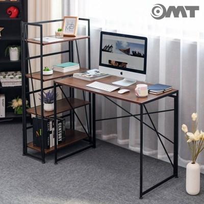 OMT 무볼트조립 트랜스포머 접이식 일자형 원목 책상 970mm