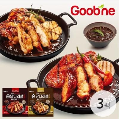[굽네] 순닭다리살 구이 2종 3팩 골라담기 (갈비맛/매콤갈비맛)