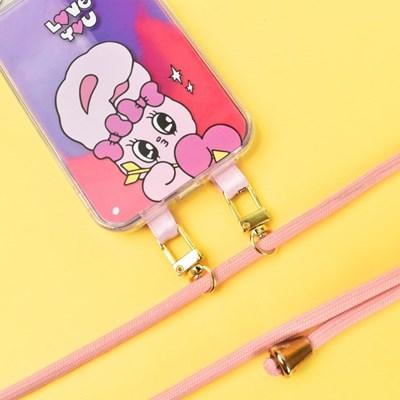 에스더버니 네온샌드 형광 아쿠아 케이스+목걸이줄 세트 아이폰