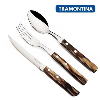 트라몬티나 우드 커트러리 3종 세트(나이프+포크+스푼)