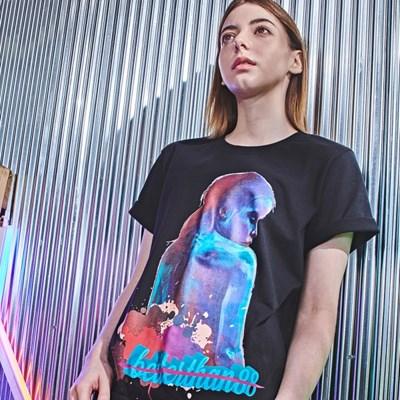 [베러댄88] 모탈라 오버핏 20수 반팔 티셔츠 우먼 밴타블랙