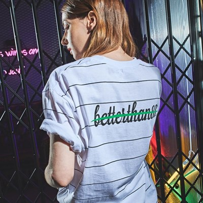 [베러댄88] 카디스 오버핏 20수 스트라이프 티셔츠 우먼 모노화이트