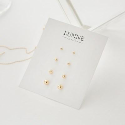 14k gold basic ball earrings (14K 골드)