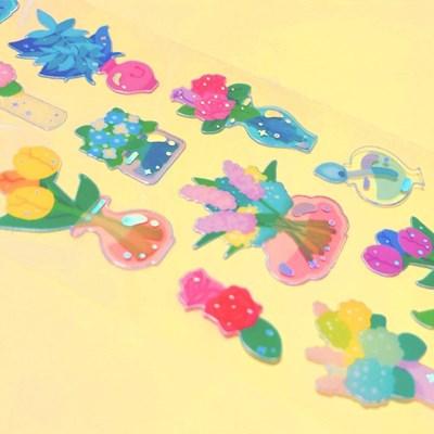 투명금테 Flower Vase 칼선 스티커