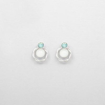 [쥬디앤폴] 로네 제이드 그린 크리스탈 귀걸이 E51537