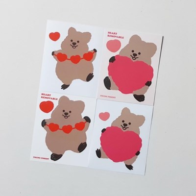 [영이의숲]하트 꽃카 리무버블 스티커