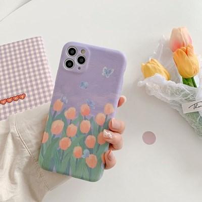 나비 튤립 유화 아이폰 매트 풀커버 실리콘 카메라보호 케이스