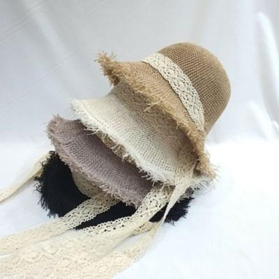 올풀림 레이스띠 패션 뜨개 버킷햇 벙거지 모자